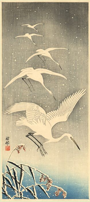 White Birds in Snow - Ohara Koson  -Could be an intro to watercolor for my younger groups- collage a bird/ branches on top? this would tie in non-Western culture...