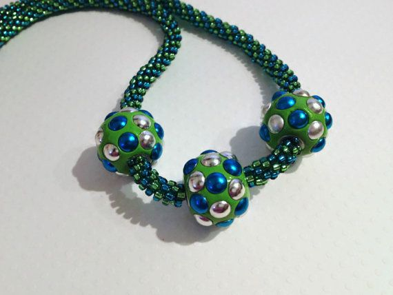 Turquoise and Green Beaded Kumihimo Necklace by JewelleryByJanine, £40.00