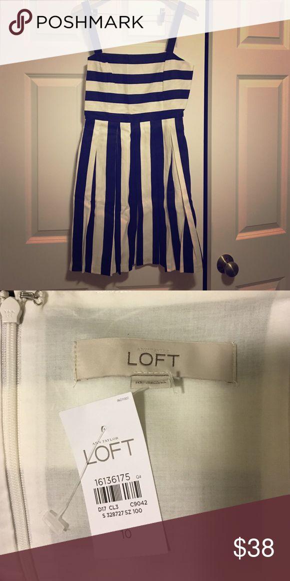 Chic striped Loft dress! Zipper and hook closure. Black and white striped. Cotton and linen blend. Never worn. Smoke free home LOFT Dresses Midi