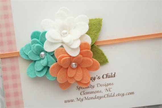 Felt Flower Headband in Mint and Peach Pearl by MyMondaysChild