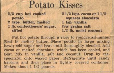 Homemade Easter Treats!:  Vintage Recipe Clipping For Potato Kisses Candy,  I remember these!