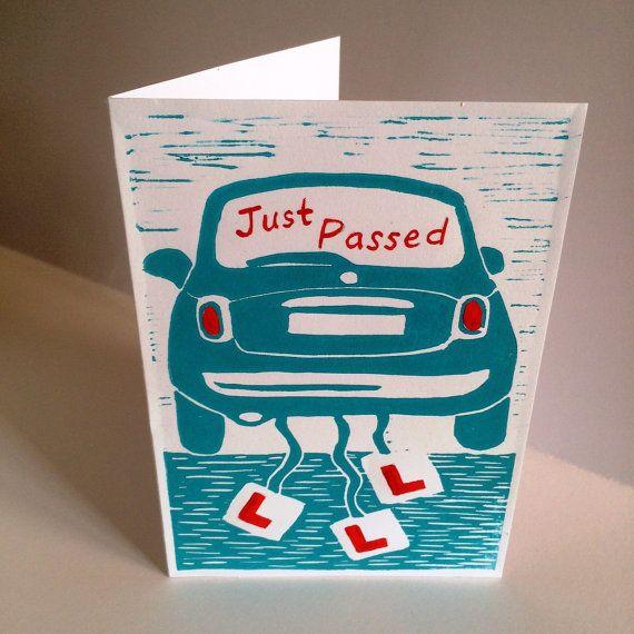 Driving Test Passed card linocut by racheyjane on Etsy