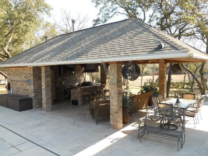 Outdoor BBQ Kitchen Bar / Cabana / Pool House / Bathroom / Plans, 16'w  x  30'd #StuccoBrickorStone