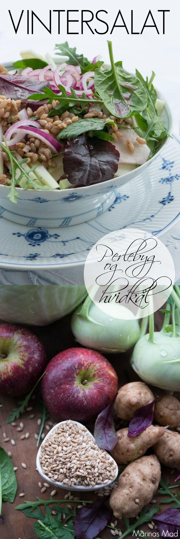 Vintersalat med perlebyg og hvidkål. Smager skønt som tilbehør men kan også spises alene som et selvstændigt måltid. Opskrift fra Marinas Mad