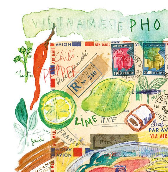 Vietnamese Pho Recipe Print, Asian Kitchen Wall Art