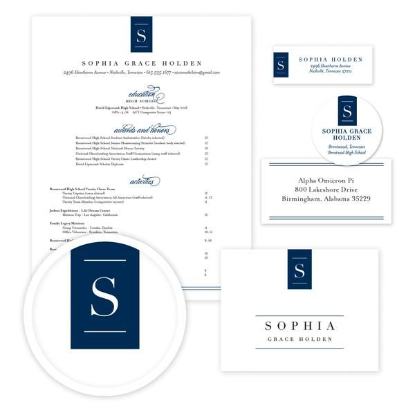Chic Initial Sorority Packet // Our complete sorority packets include designs for your resume, cover letter, mailing labels, return address labels, personal stickers to label your sorority headshots, and thank you notes—everything you need to gather letters of recommendation for sorority recruitment!  sororitypackets.com