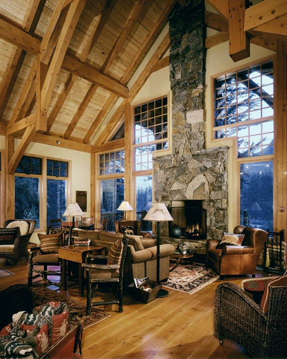 rustic great room luxury log cabinsmountain - Log Cabin Living Room