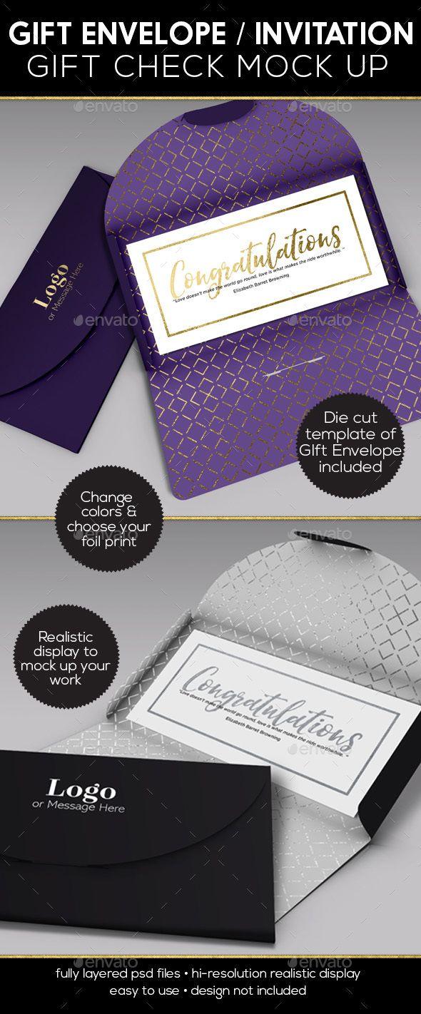 Gift Envelope Invitation Gift Check Mockup - Print Product Mock-Ups