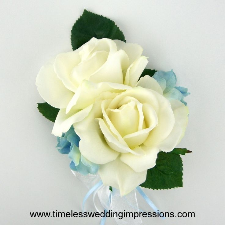 Roses & Hydrangeas Corsage I'm liking the roses and hydrangeas but without the greenery