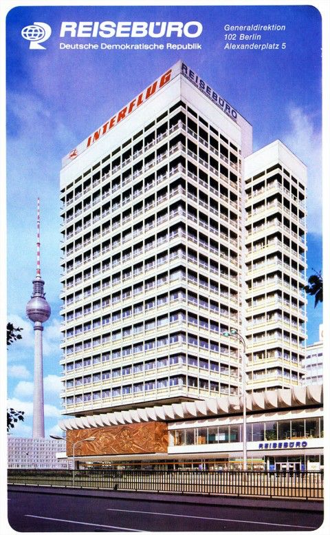 Advertisement for Reiseburo der DDR, Haus des Reisens, Alexanderplatz.