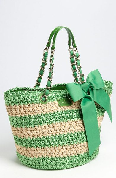 LOVE THIS~  Kate Spade Point Breeze  Small Coal Straw Tote in Green (wheatgrass/ natural) - Lyst