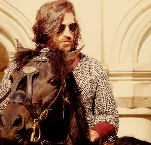 gwain taking the aviators out for a spin on his horse...he's cool like that #merlin