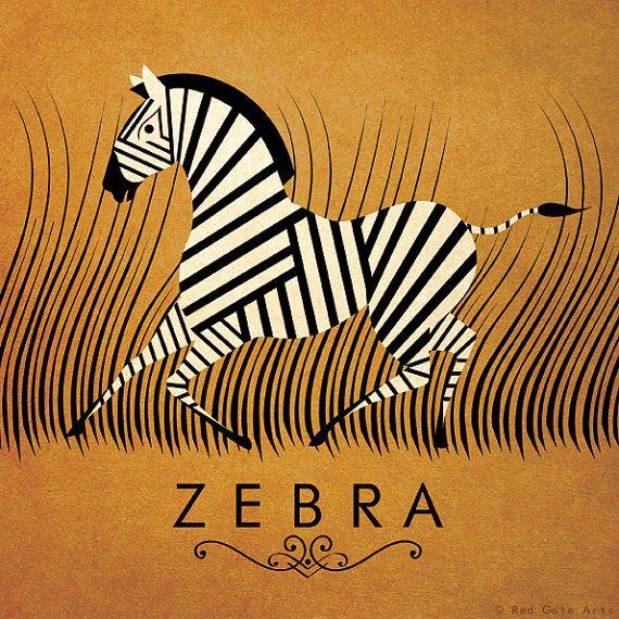 Zèbre Design Original Alphabet animaux affiches Art par RedGateArts, £12.50