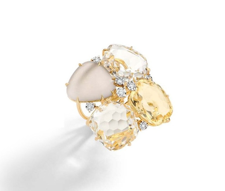 Ring in 18k white and yellow gold with round diamonds, smokey quartz, morganite topaz and citrine.