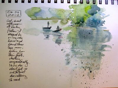 Artists' Journal Workshop: Super quick journal page. Interesting blog about watercolor journals.
