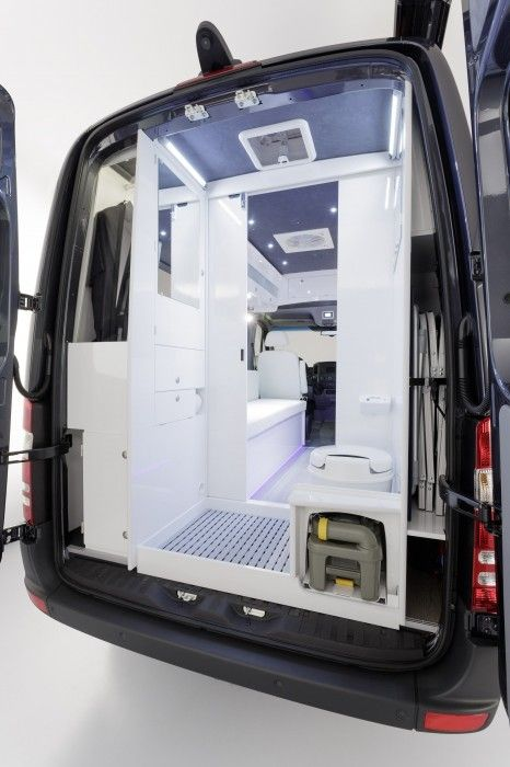 Mercedes Sprinter camper bathroom in the cut-away MB camper model