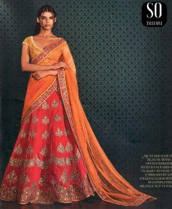 Fabuleux Lehenga Designer Orange & Rouge