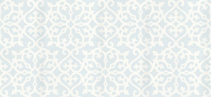 Allison (T1823) - Thibaut Wallpapers - A pretty white snowflake style delicate all over trellis pattern, with a distressed effect on soft blue - vinyl coated. An American wallcovering and will take between 7-10 working days for delivery. Wide width. Please request sample for true colour match.