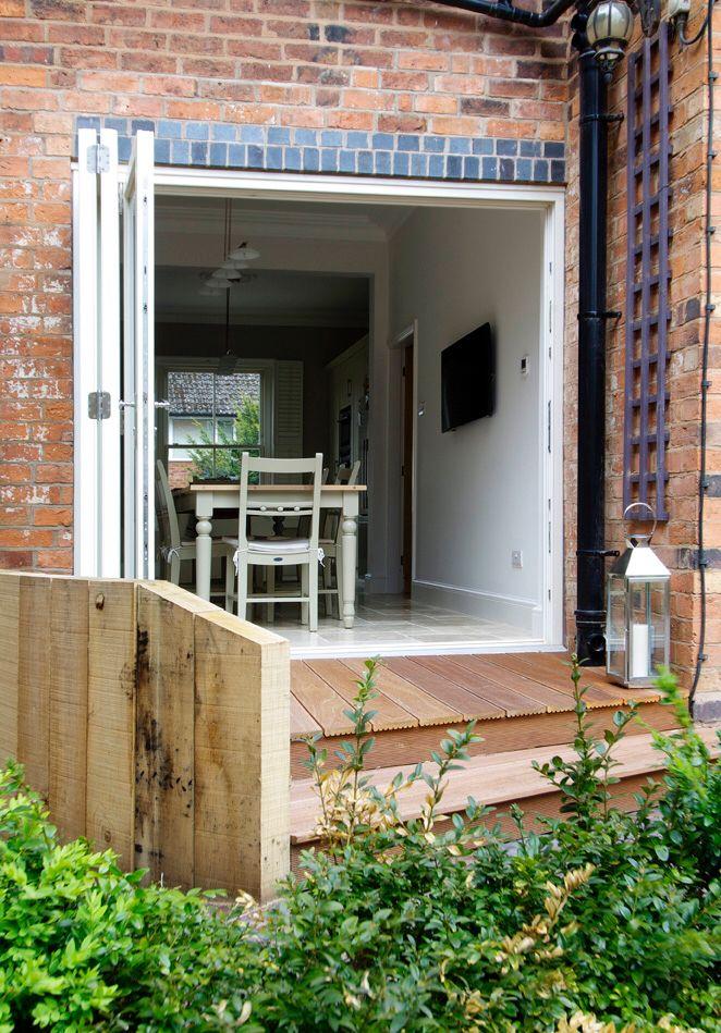 Bifold doors open position external view