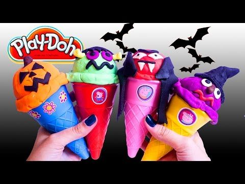 Halloween Peppa Pig Ice Cream Parlor Building Toys Play Doh Ice Cream DIY La Heladería de Peppa Pig - YouTube