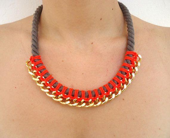 Neon Red Orange/Taupe Bib Rope and Chain by CreationsByAlina, $29.00