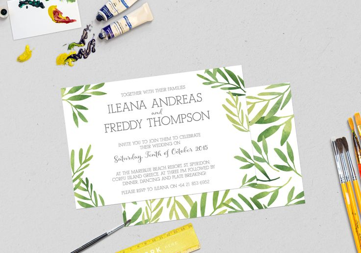 Watercolour leaves styled Wedding Invitation designed by Imagine If Creative Studios