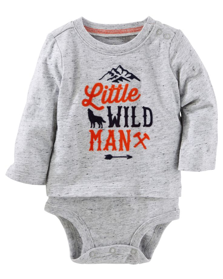 Built like a bodysuit but styled like a tee, this one's great for your little wild man!<br>