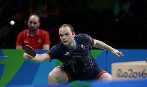 Paul Drinkhall eyes the ball on his way to defeating Croatia's Andrej Gacina.