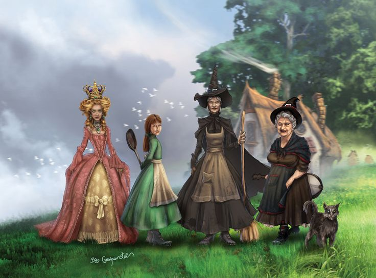 Ok - here goes : my favourite Discworld Witches: L-R: Magrat (as Queen of Lancre - I guess she would be Witch Queen?), Tiffany, Granny Weatherwax, Nanny Ogg and Greebo . Kinda a concept group portr...