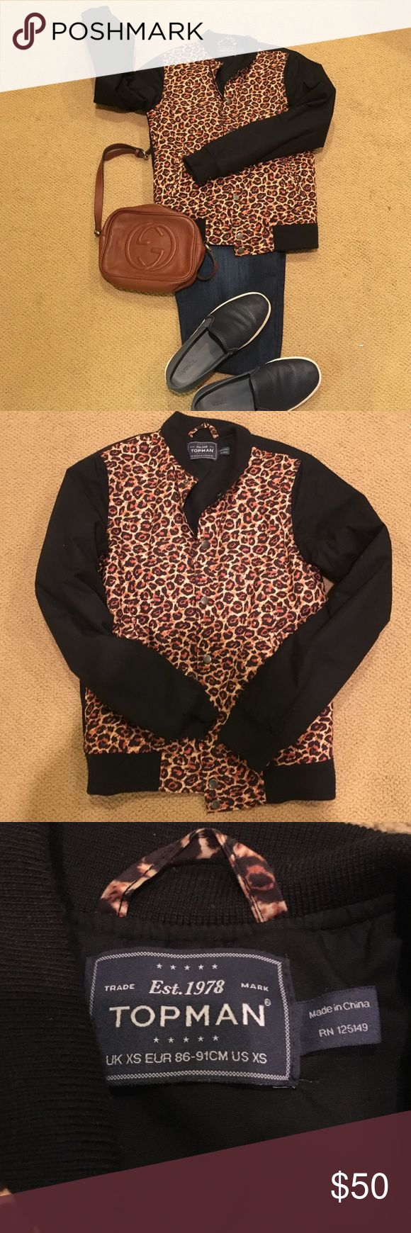 Topman Leopard Varsity Style Jacket Topman Leopard Varsity Style Jacket. This has never been worn, in excellent condition. Very cute and trendy Topman Jacket. Leopard and Black. Open to offers no trades. Topman Jackets & Coats Bomber & Varsity