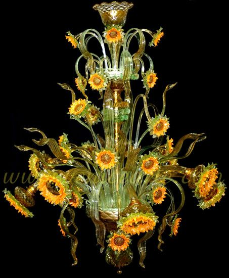 Murano chandelier inspired by Van Gogh's Sunflowers.  Made on the island Murano outside Venice. Completely ott, but so lovely. Such a happy light-fitting :)