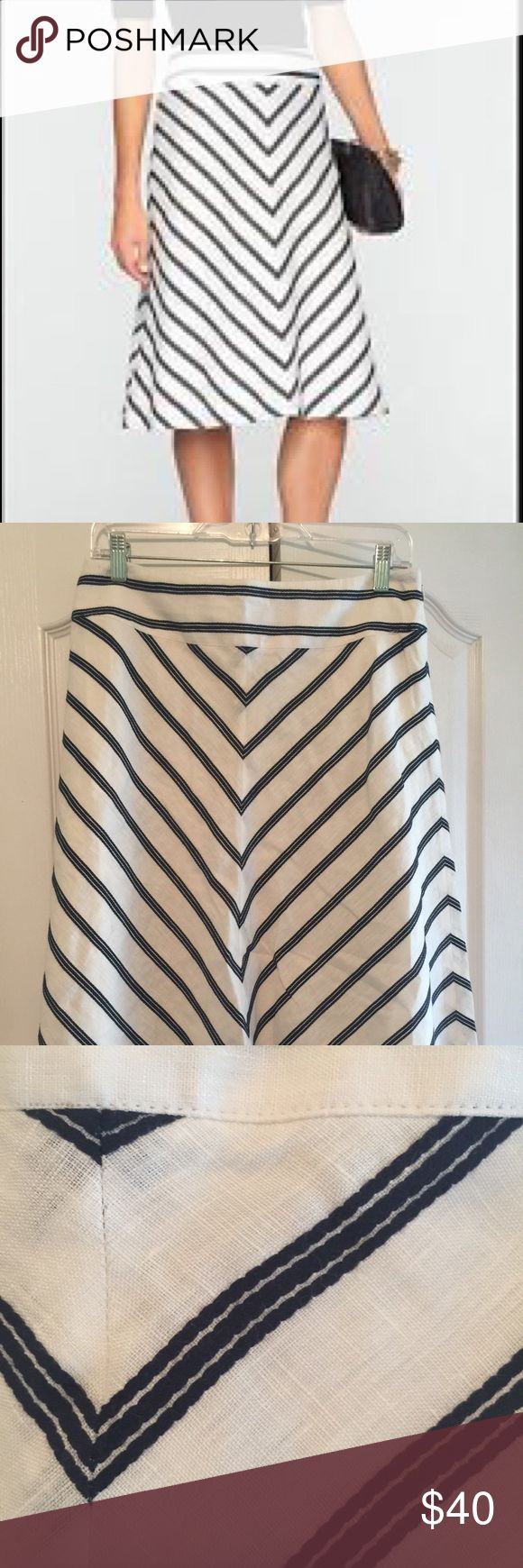 Talbots striped A-line skirt Classic A-line white with navy striped skirt. Flattering lines, classic style. Talbots Skirts Midi