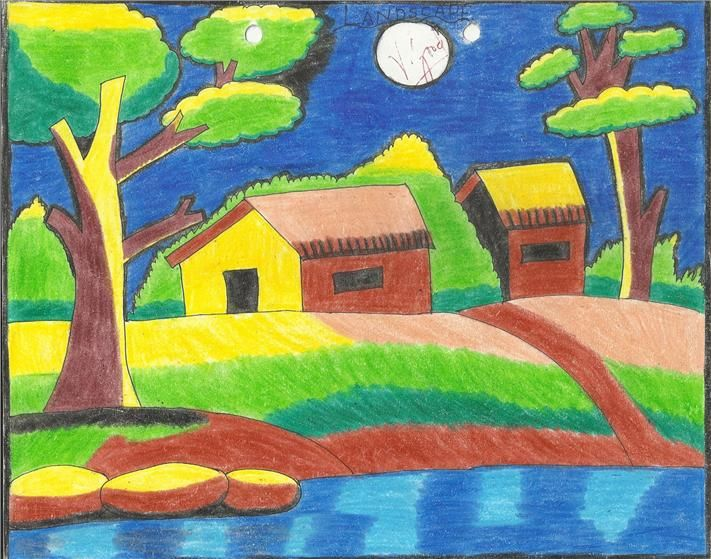 Easy landscape sketches for kids the for Simple scenery paintings