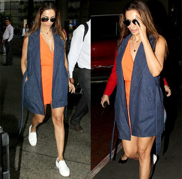 Malaika Arora's orange playsuit is super chic but we wouldn't miss the denim shrug if it weren't a part of the ensemble – view… #FansnStars