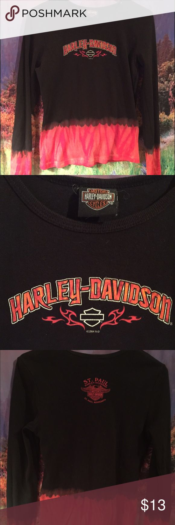 Super cool flame top Harley-Davidson biker shirt This is a really cool long sleeve ladies T-shirt. Size medium Harley-Davidson St. Paul Minnesota. Great used condition. Make me an offer 🏍 Harley-Davidson Tops Tees - Long Sleeve