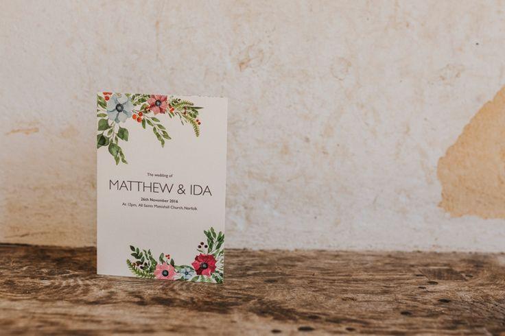 Elegant order of service for Matt & Ida. Photo by Benjamin Stuart Photography #weddingphotography #orderofservice #weddingstationary #weddingservice #weddingday #floraldesign