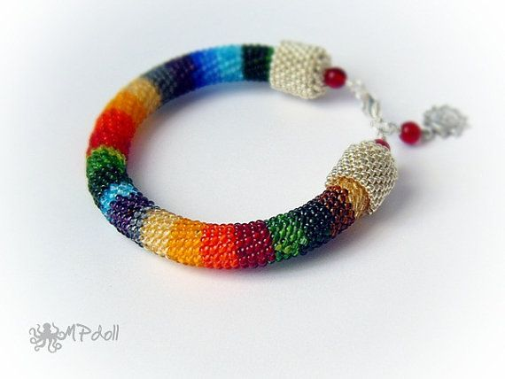 Rainbow  Bead Crochet Bracelet Crochet Rope Beaded Multicolor
