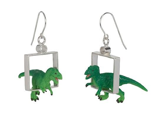 T-Rex Earrings by Kristin Lora: Silver Earrings available at www.artfulhome.com