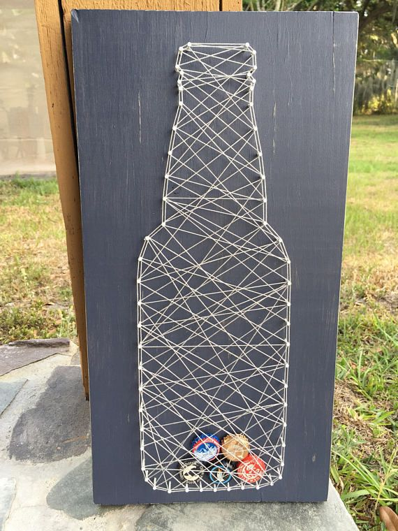 Blue and gray string beer bottle cap string art holder. Perfect gift for any craft beer lover, or for Father's Day!