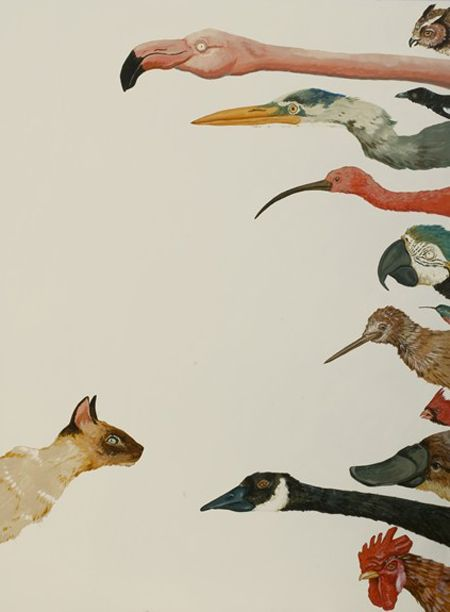 "Cat & Birds, painting by Jenny Keith. The print of it is called ""Pause"""