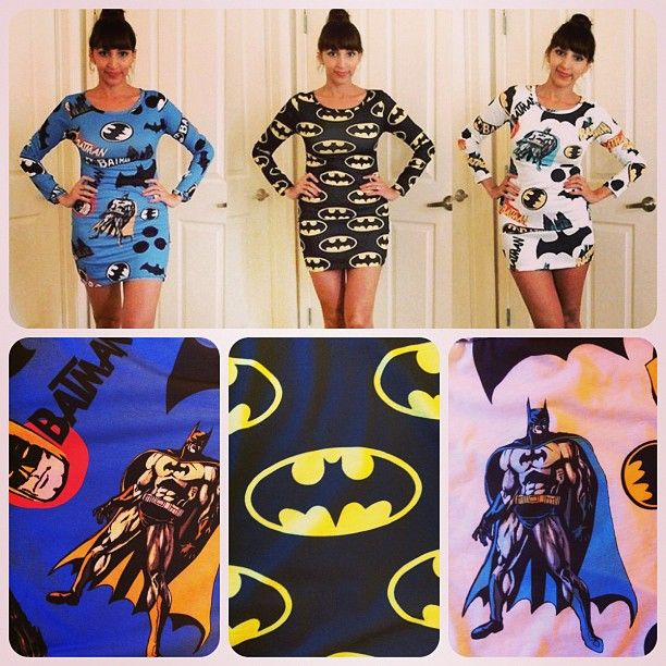 Batman dresses: http://geekpinata.tumblr.com/post/44900772446/geek-fashion-friday-batman-dresses
