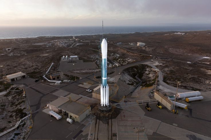 The Delta II rocket set to launch NOAA's JPSS-1 spacecraft stands at Space Launch Complex 2 at Vandenberg Air Force Base.