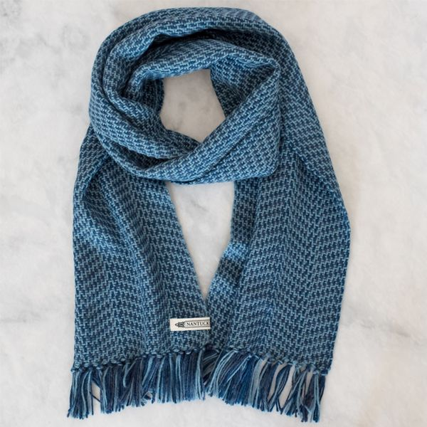 Stormy Blue Handwoven Alpaca Scarf - Inspired by the stormy oceans surrounding Nantucket and made from Peruvian Alpaca, our handwoven Alpaca scarf is extremely warm and luxuriously soft. Alpaca, a hypoallergenic fiber, is the ideal choice for those who have sensitive skin. Woven by our artisan weavers at our Nantucket studio, these scarves make an elegant and thoughtful gift.