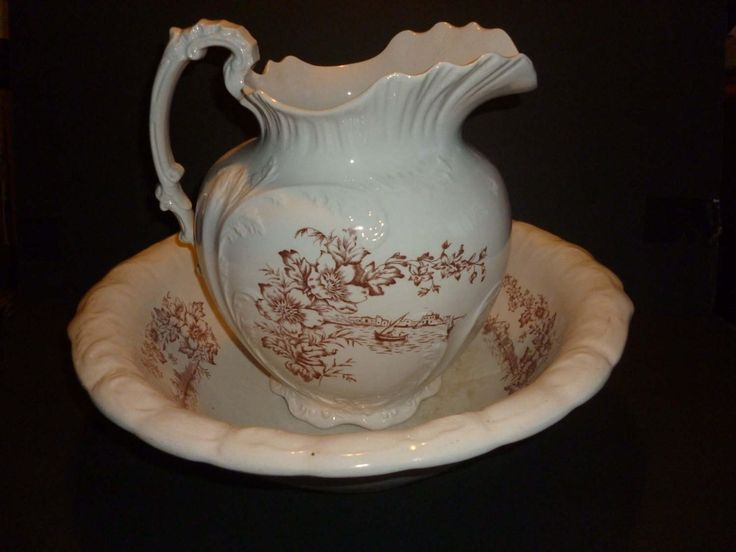 Vintage 1800s, Ironstone Pitcher, Ironstone Bowl, Brown Transferware,Victorian Decor, Shabby Chic, Pitcher and Bowl Set,English Ironstone by godseyewatching on Etsy