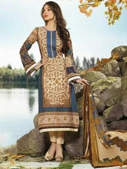 Beige & Navy Blue Digital Printed Pakistani Suit