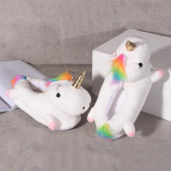LED Kartoon Unicorn Plush White Glowing Light Plush Slippers - US$17.49