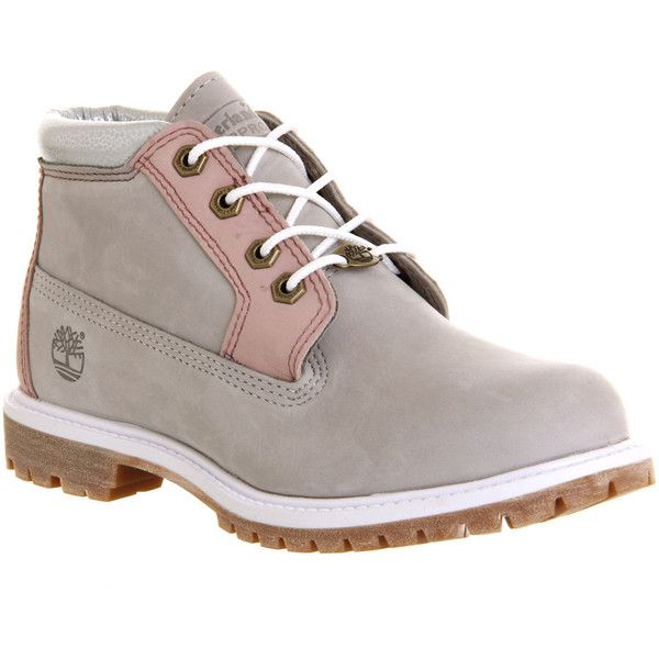 Timberland Nellie Chukka Double Waterproof Boots ($95) ❤ liked on Polyvore featuring shoes, boots, ankle booties, ankle boots, wind chime nubuck, women, short lace up boots, short boots, waterproof boots and grey ankle boots