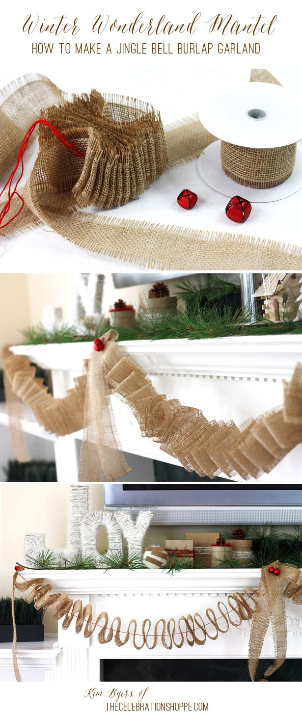 DIY Jingle Bell Burplap Garland & Winter Wonderland Christmas Mantel