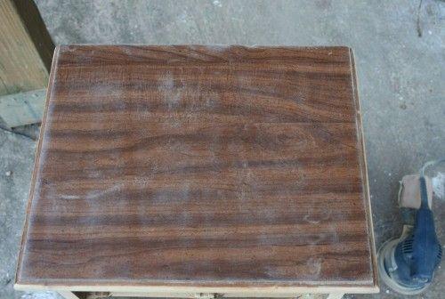Painting fake wood furniture