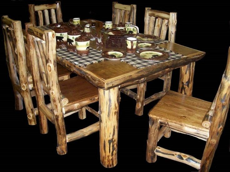 Rustic Kitchen Table Set Country Western Log Cabin Wood Furniture D